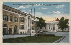 Market Square Showing Post Office, City Hall and Fire Dept.