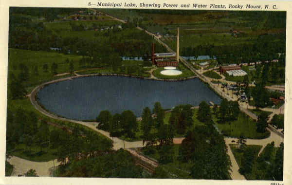 Municipal Lake, Showing Power and Water Plants Rocky Mount North Carolina