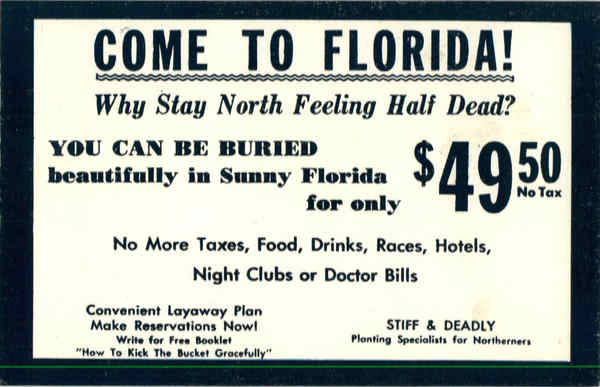 Come to Florida - Death, Funeral Comic, Funny