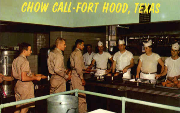 Serving Line in Mess Hall Fort Hood Texas