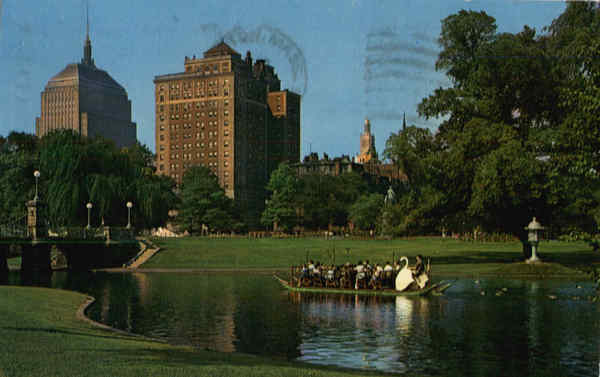 Swan Boats and Back Bay Skyline from Public Garden Boston Massachusetts