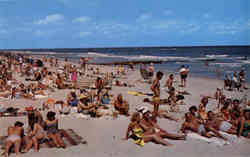 Southern Beach Scene - lots of people Postcard