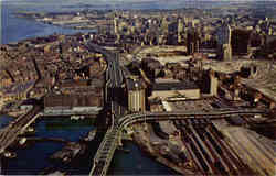 Aerial view Boston waterfront and Fitzgerald Expressway looking south