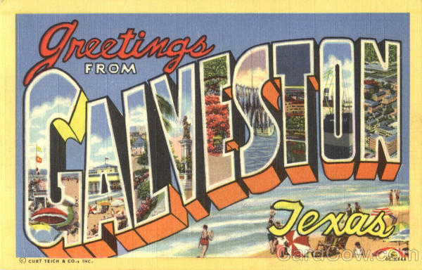 Greetings From Galveston Texas Large Letter