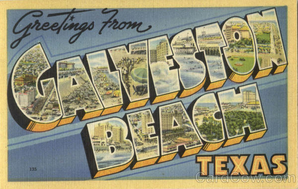 Greetings From Galveston Beach Texas Large Letter