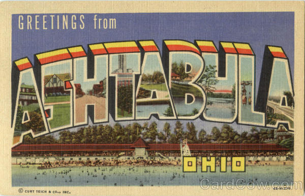Greetings From Ashtabula Ohio Large Letter