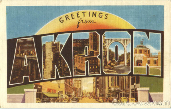 Greetings From Akron Ohio Large Letter