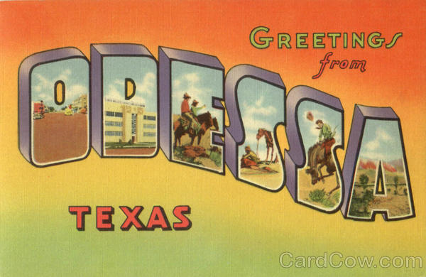 Greetings From Odessa Texas Large Letter