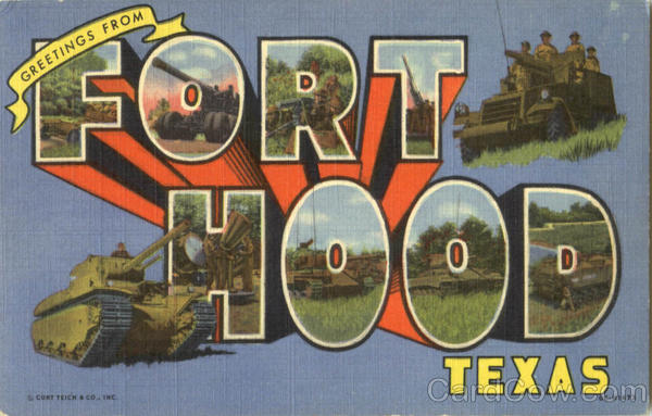 Greetings From Fort Hood Texas Large Letter