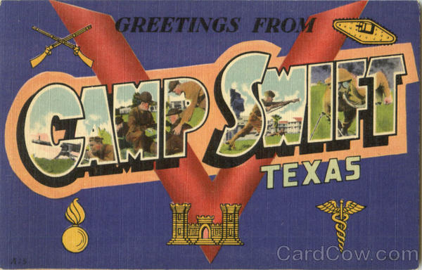 Greetings From Camp Swift Texas Large Letter