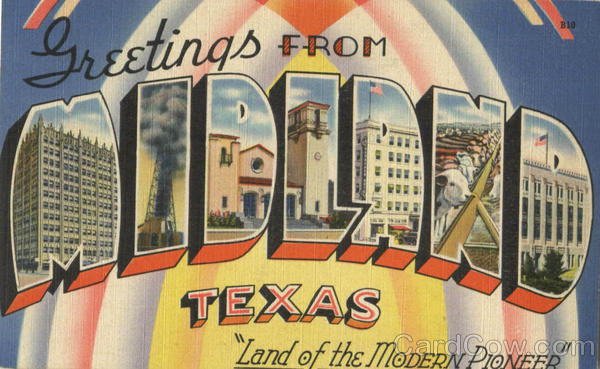 Greetings From Midland Texas Large Letter