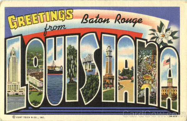 Greetings From Louisiana Baton Rouge Large Letter