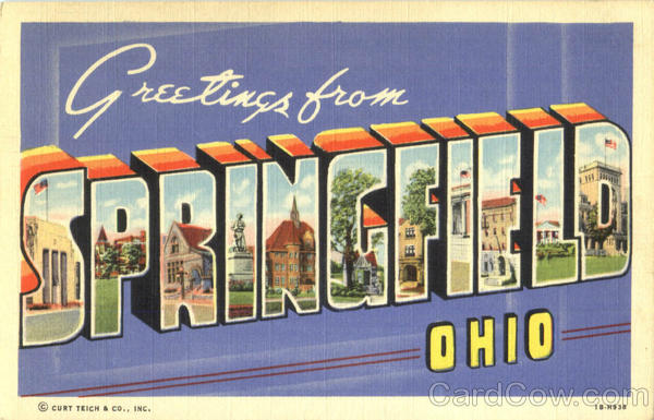 Greetings From Springfield Ohio Large Letter
