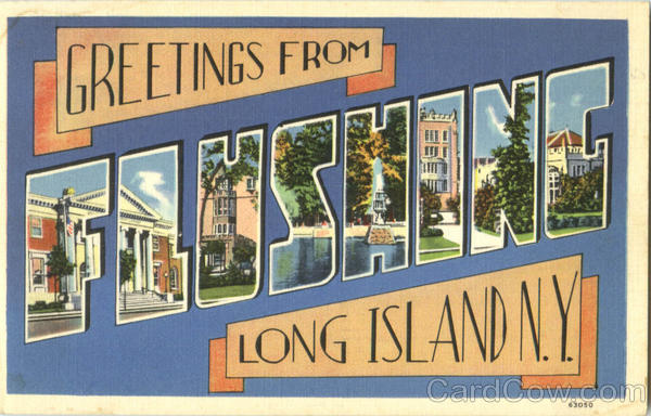 Greetings From Flushing Long Island New York Large Letter