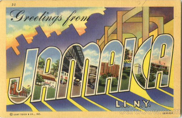 Greetings From Jamaica Long Island New York Large Letter