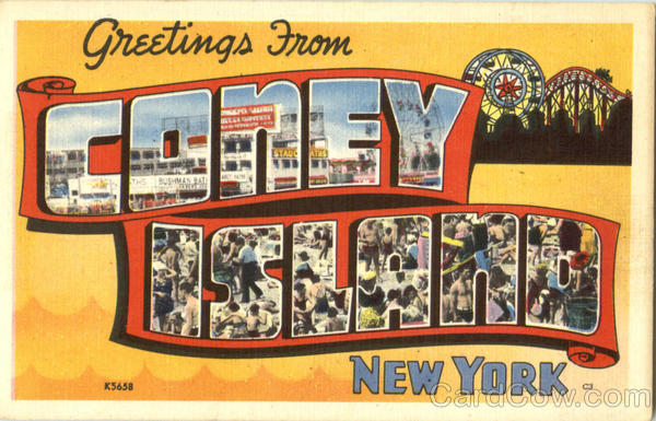 Greetings From Coney Island New York Large Letter