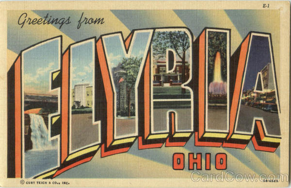 Greetings From Elyria Elmira Ohio Large Letter