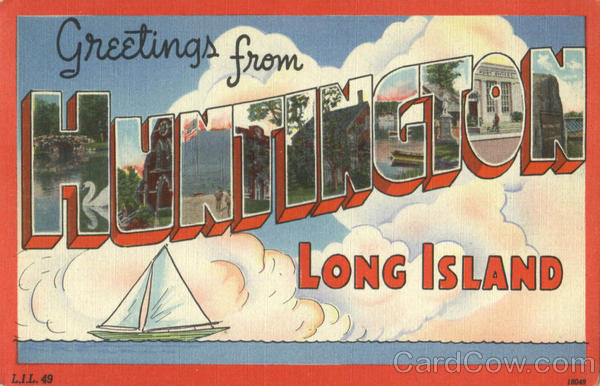 Greetings From Huntington Long Island New York Large Letter
