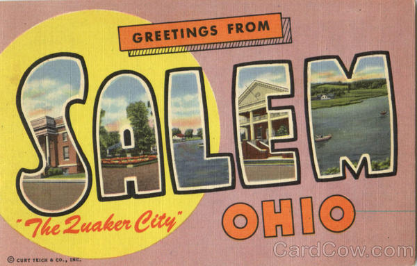 Greetings From Salem Ohio Large Letter