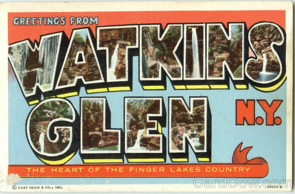 Greetings From Watkins Glen New York Large Letter