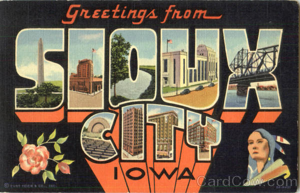 Greetings From Sioux City Iowa Large Letter