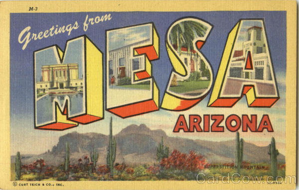 Greetings From Mesa Arizona Large Letter