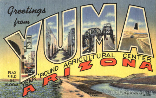 Greetings From Yuma Arizona Large Letter