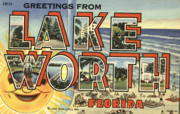 Greetings From Lake Worth Florida Large Letter