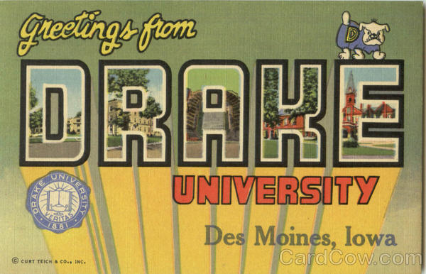 Greetings From Drake University Des Moines Iowa Large Letter
