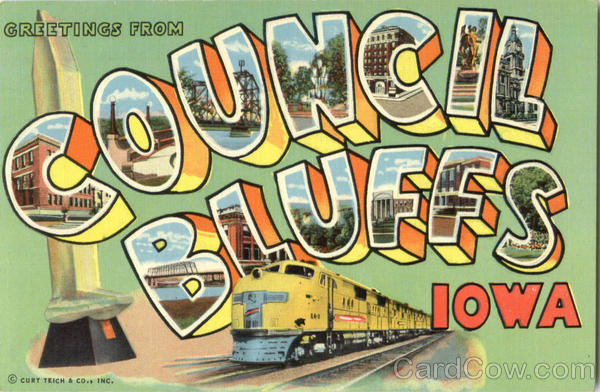 Greetings From Council Bluffs Iowa Large Letter