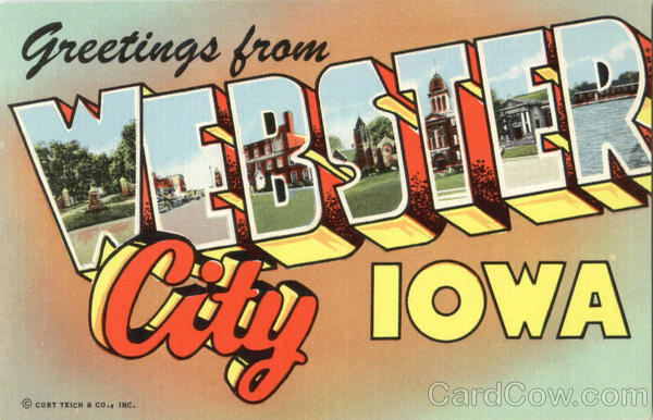 Greetings From Webster City Iowa Large Letter
