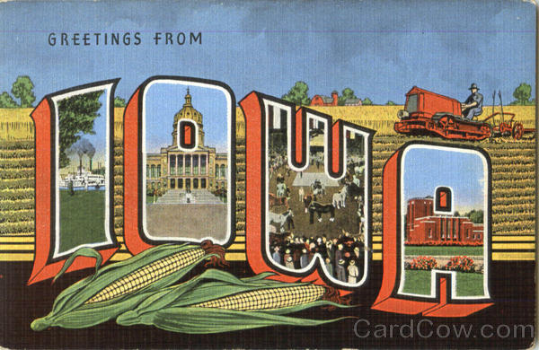 Greetings From Iowa Old Postcard