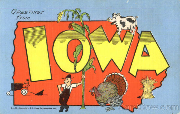 Greetings From Iowa Large Letter