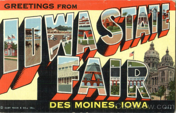 Greetings From Iowa State Fair Des Moines Large Letter