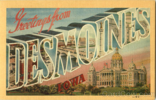 Greetings From Des Moines Iowa Large Letter