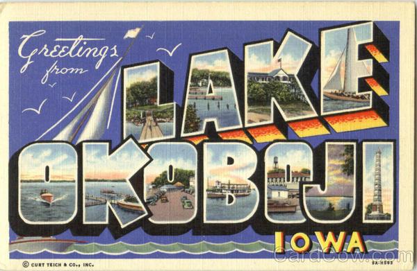 Greetings From Lake Okoboji Antique Postcard