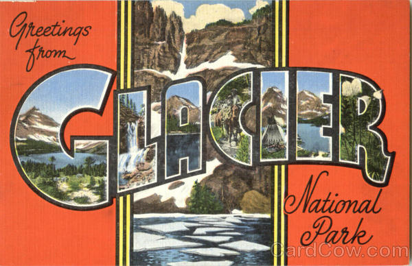 Greetings From Glacier National Park Montana Large Letter