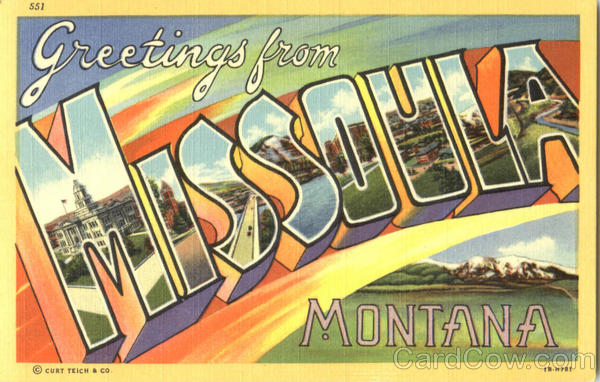 Greetings From Missoula Montana Large Letter