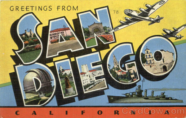 Greetings From San Diego California Large Letter