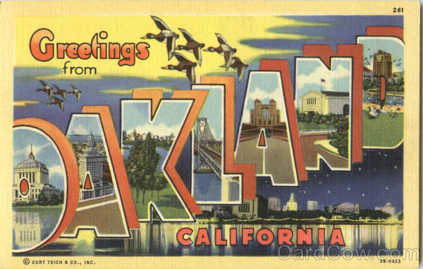 Greetings From Oakland California Large Letter