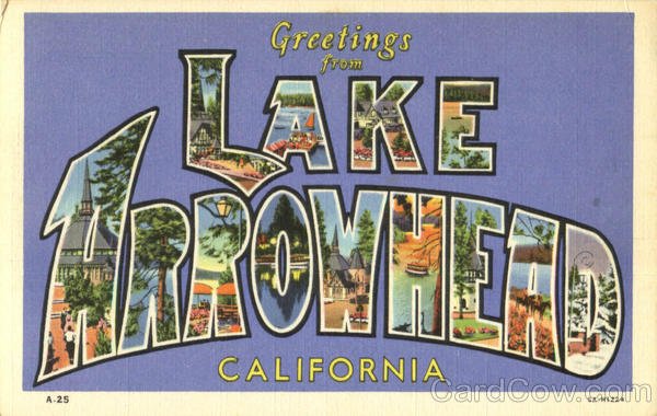Greetings From Lake Arrowhead California Large Letter