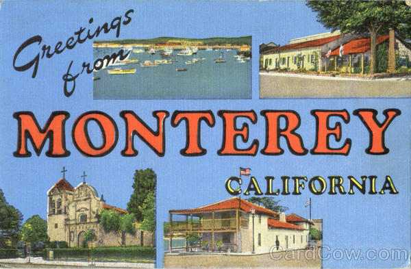 Greetings From Monterey California Large Letter