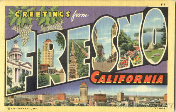Greetings From Fresno California Large Letter