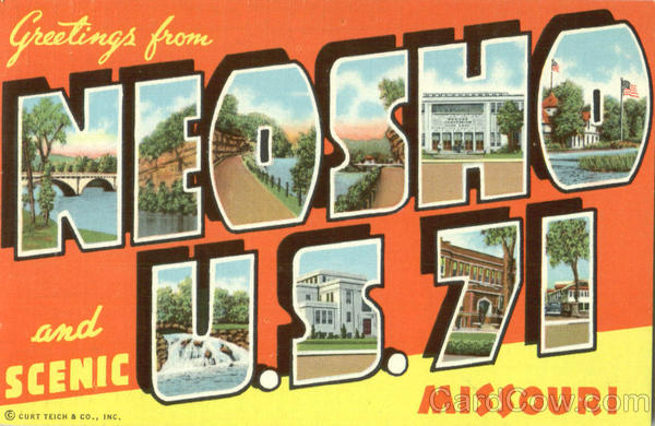 Greetings From Neosho U. S. 71 Missouri Large Letter