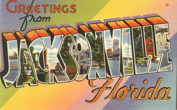 Greetings From Jacksonville Florida Large Letter