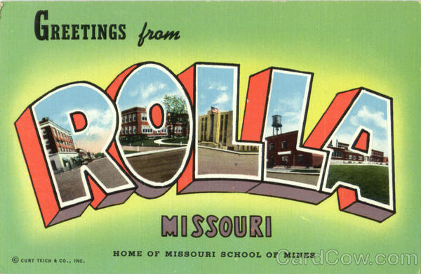 Greetings From Rolla Missouri Large Letter