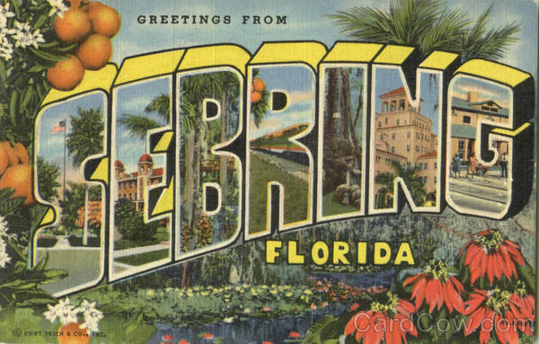 Greetings From Sebring Florida Large Letter