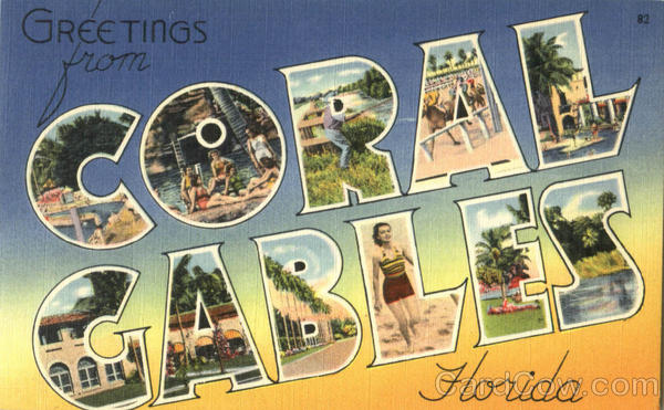 Greetings From Coral Gables Florida Large Letter