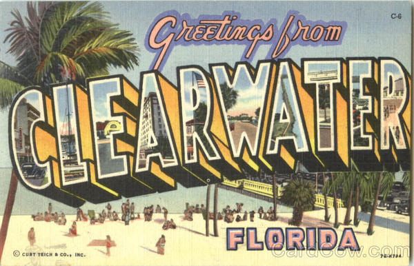 Greetings From Clearwater Florida Large Letter