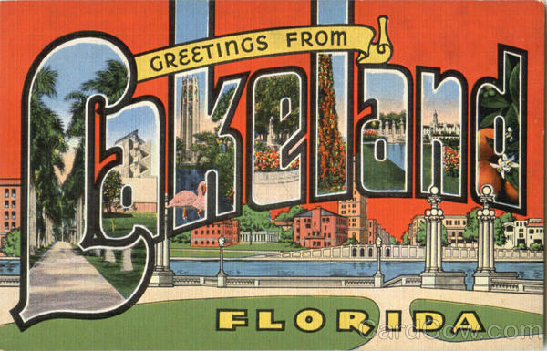 Greetings From Lakeland Florida Large Letter